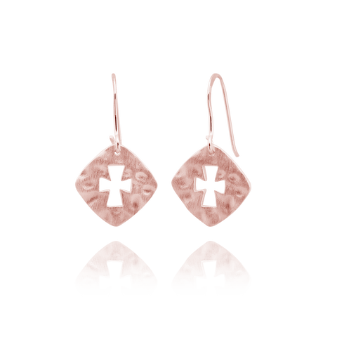 Hammered Finish Square with Cross Earrings