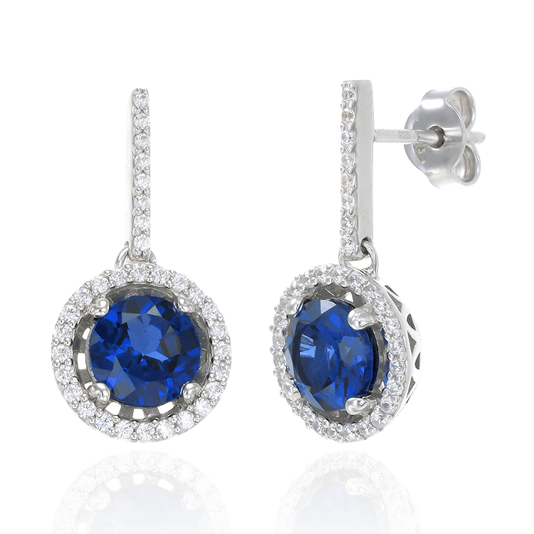 Sparkling Round Halo Blue Sapphire Earrings