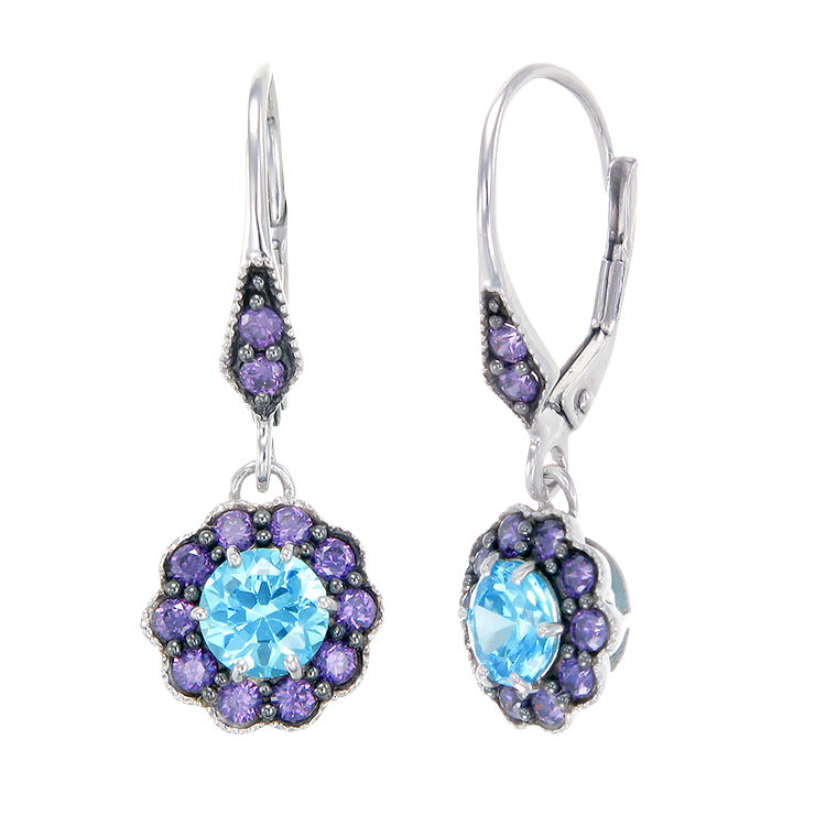 Vintage Inspired Earrings in Aquamarine and Purple CZ