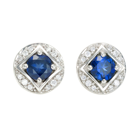 Bezel Set Vintage Inspired Blue Sapphire Earrings
