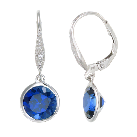 Elegant Hanging Blue Sapphire Earrings