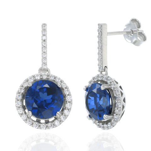Classic Round Blue Sapphire Drop Earrings with Halo