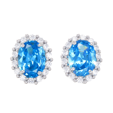 Delicate Sparkling Blue Earrings with Halo