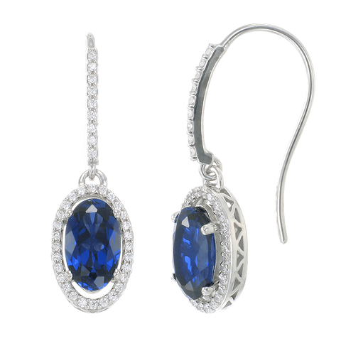 Oval Blue Sapphire Drop Earrings with Halo