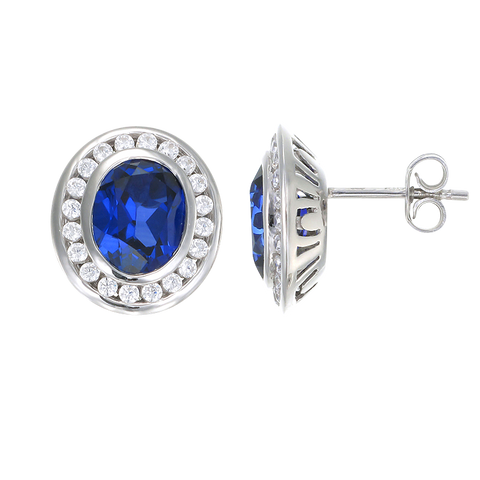 Regal Blue Sapphire Oval Earrings