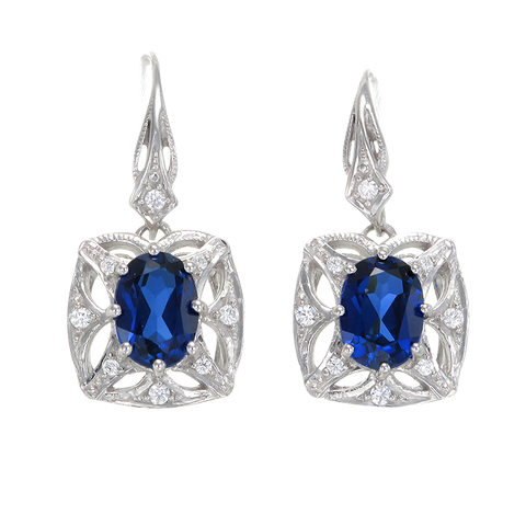 Graceful Blue Sapphire Earrings with Filigree Detail