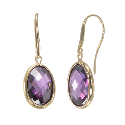 Lustrous Sparkling Amethyst 18K Gold Vermeil Earrings