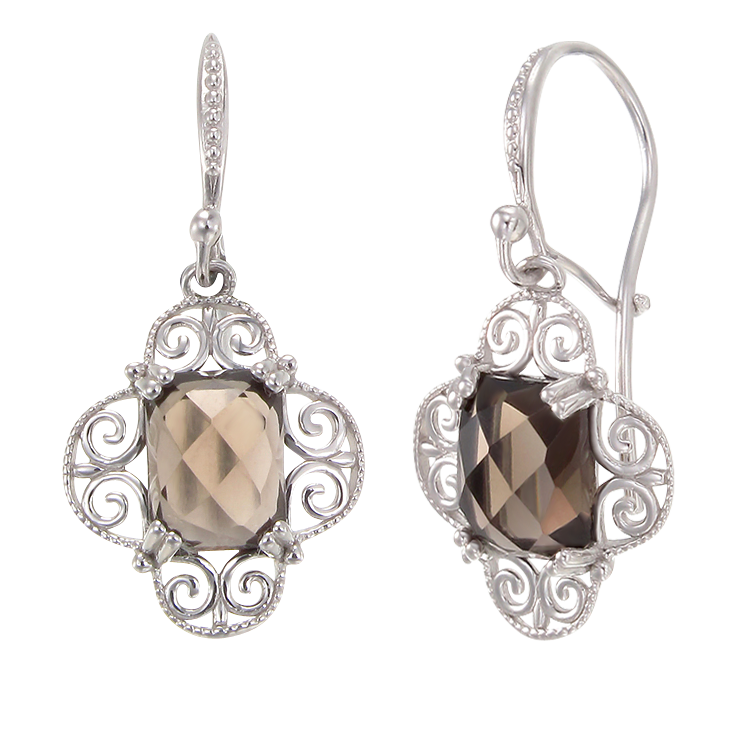Sophisticated Natural Smoky Quartz Earrings