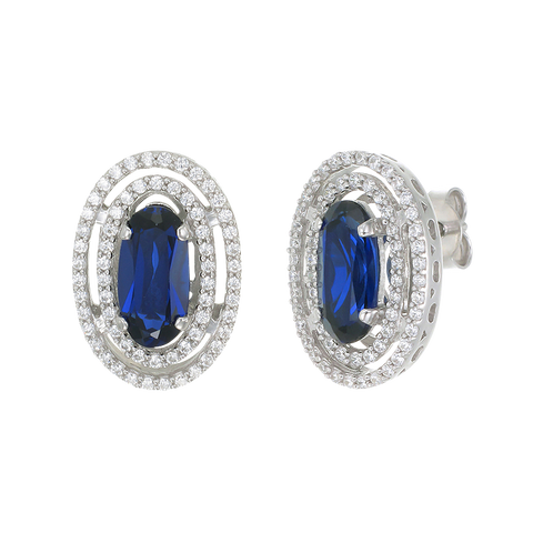 Double Halo Earrings with Blue Sapphire