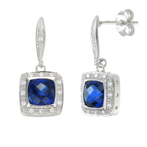 Glistening Cushion Cut Sapphire Drop Earrings