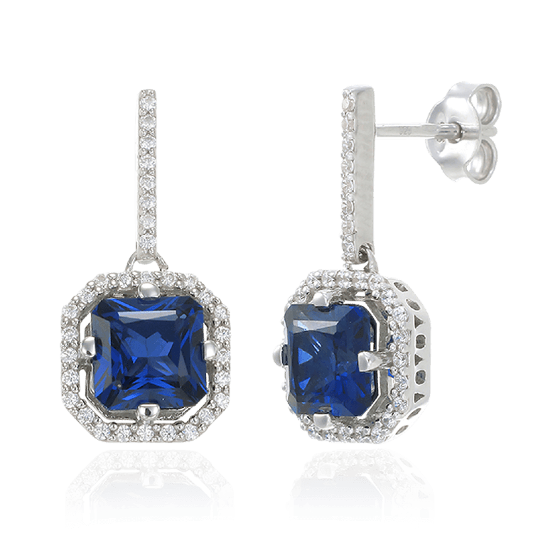 Elegant Sparkling Sapphire Blue Drop Earrings with Halo