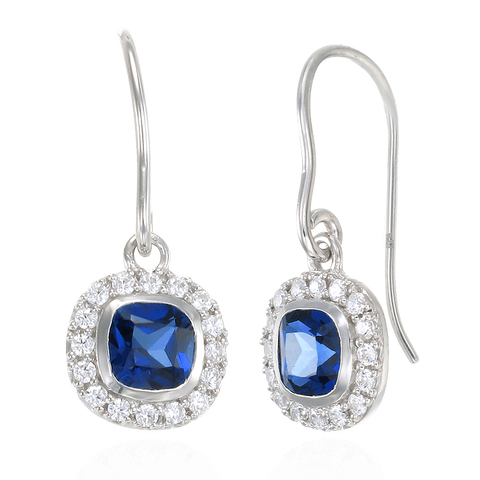 Classic Cushion Cut Blue Sapphire Earrings