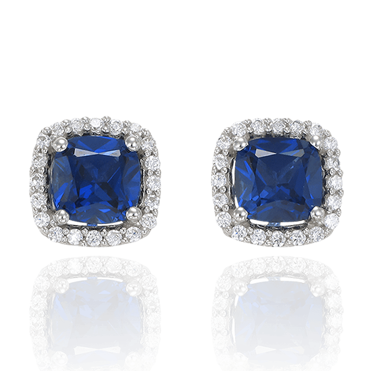 Accented Halo Earrings with Sapphire