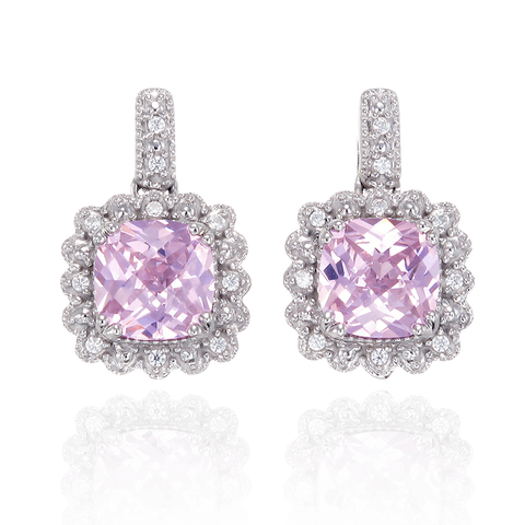 Classic Pink Drop Earrings with Accented Setting