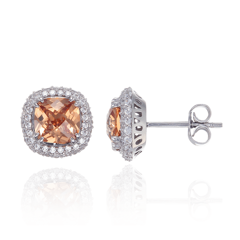 Filigree Cushion Cut Champagne Earrings