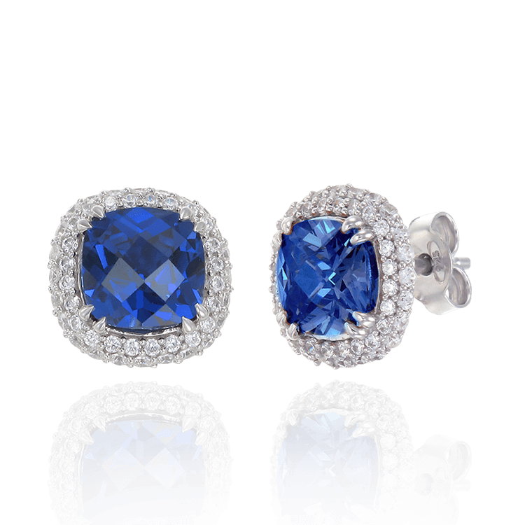 Filigree Cushion Cut Sapphire Earrings