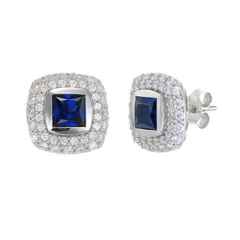 Deco Inspired Sapphire Earrings