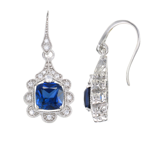 Blue Sapphire Earrings with Scalloped Halo