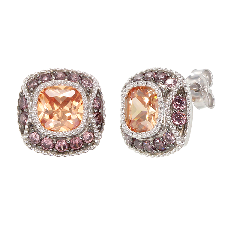 Cloisonne Champagne and Rhodolite Earrings