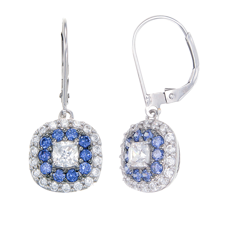 Sparkling Hypnotic White and Blue Tanzanite Earrings
