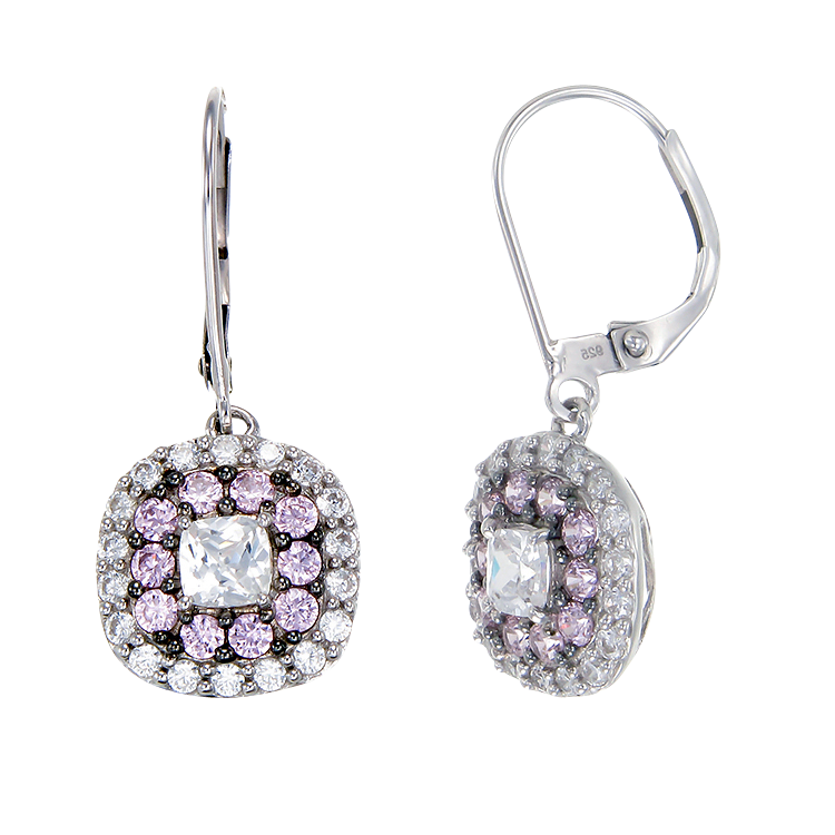 Sparkling Hypnotic White and Pink Earrings
