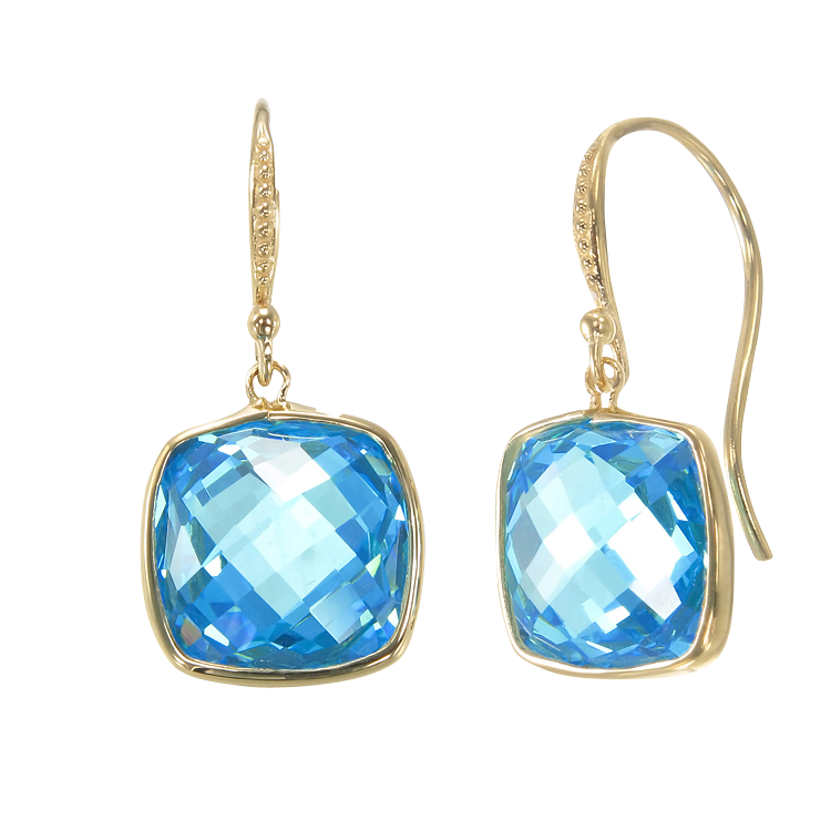 Lustrous Blue 18K Gold Vermeil Earrings