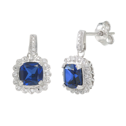 Classic Sapphire Drop Earrings with Accented Halo