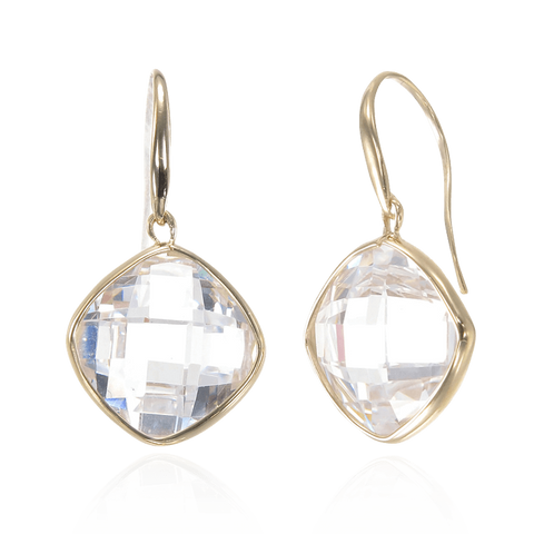 18K Gold Vermeil Sparkling White Earrings