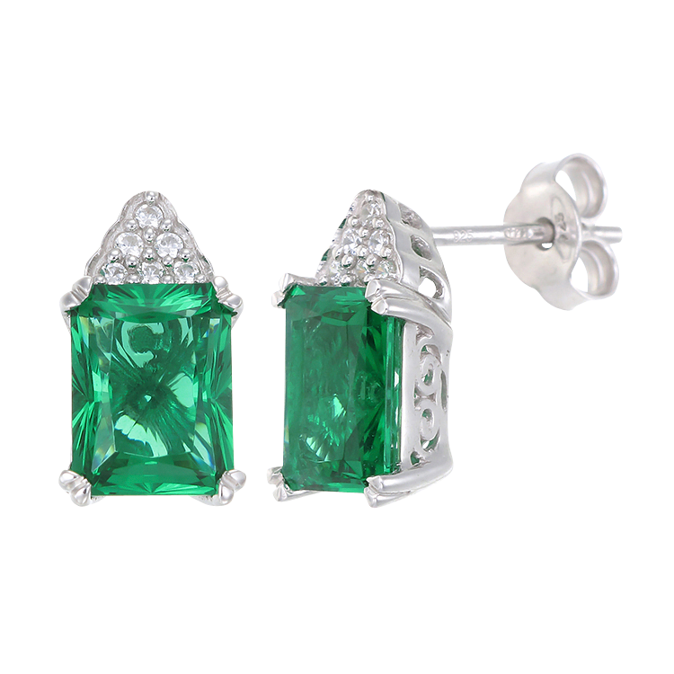 Green Alpinite Emerald Cut Cluster Earrings