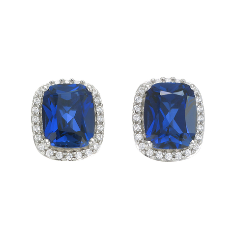 Brilliant Sapphire Cushion Cut Earrings