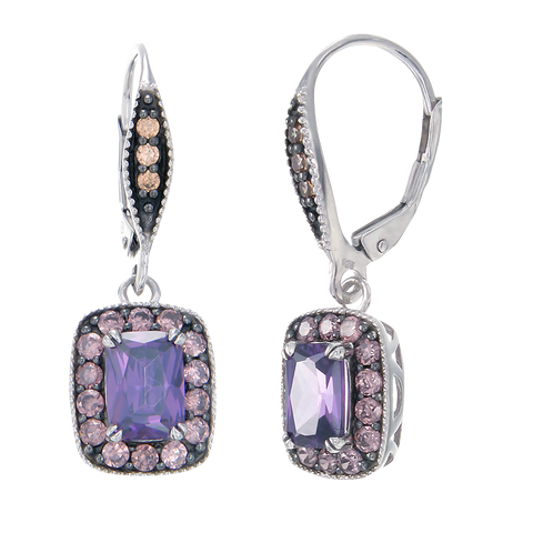 Luscious Vintage Inspired Amethyst, Rhodolite and Champagne Drop Earrings