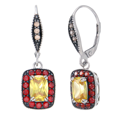 Luscious Vintage Inspired Yellow, Garnet and Champagne Drop Earrings
