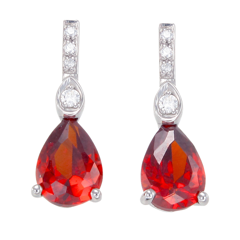 Gorgeous Ruby Red Drop Earrings