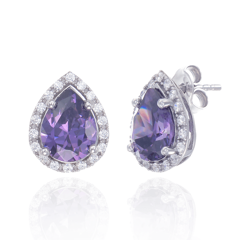 Elegant Delicate Amethyst Earrings with Halo