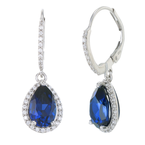 Elegant Teardrop Earrings with Blue Sapphire