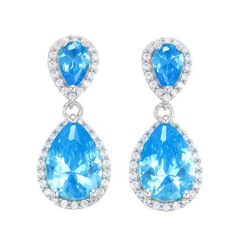 Glamorous Teardrop Blue Earrings