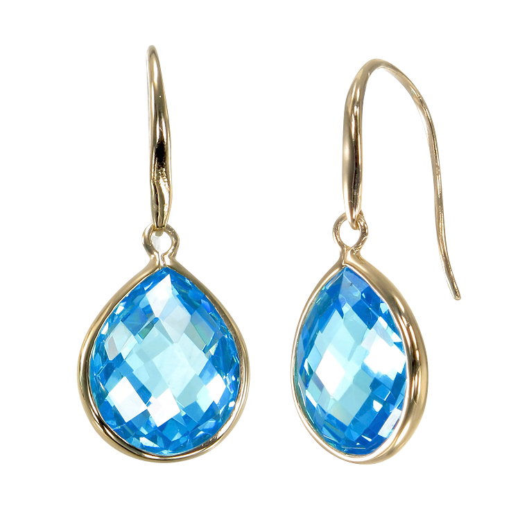 Lustrous 18K Gold Vermeil Blue Drop Earrings