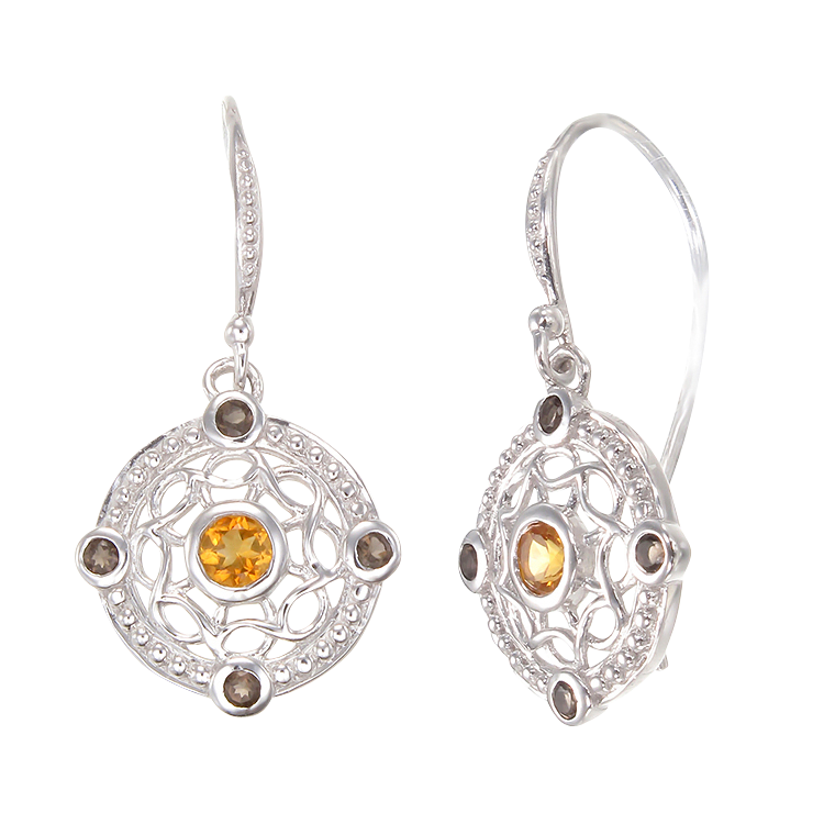Graceful Eastern Inspired Natural Citrine and Smoky Quartz Earrings