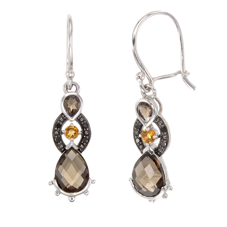 Sophisticated Smoky Quartz, Citrine and Black Diamond Earrings