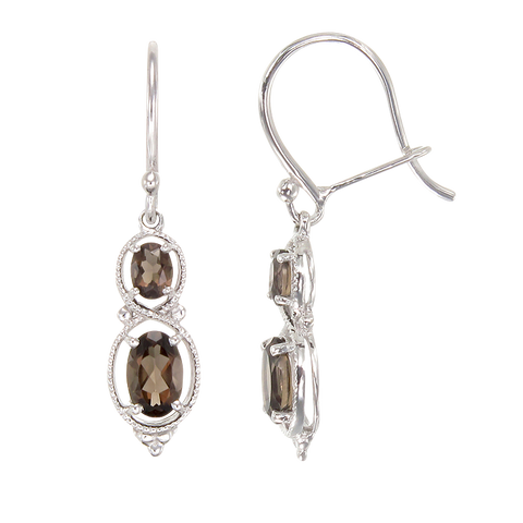 Sophisticated Vintage Inspired Natural Smoky Quartz Earrings