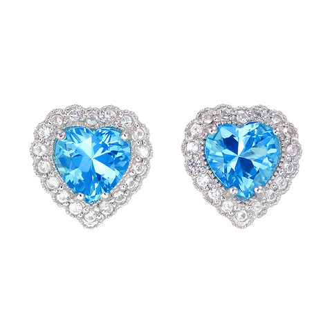 Sparkling Heart Passion Topaz Earrings with Halo