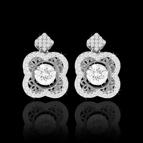 Shimmering Clover Earrings in Platinum