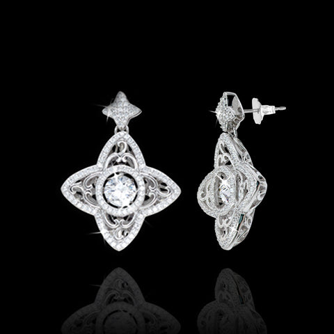 Shimmering Vintage Star with Filigree Earrings