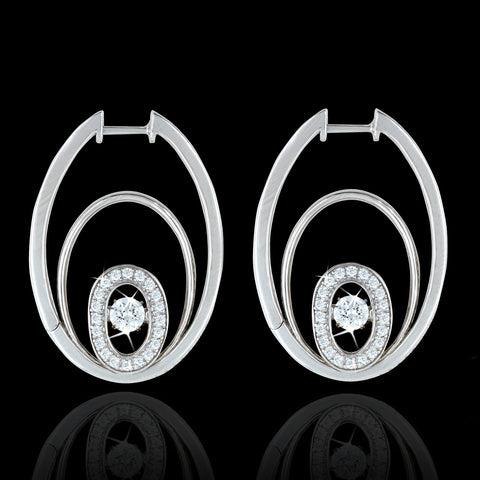 Shimmering Accented Concentric Oval Earrings