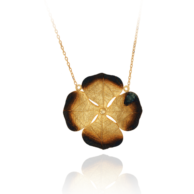 Lily Pad with Ember Detail Pendant