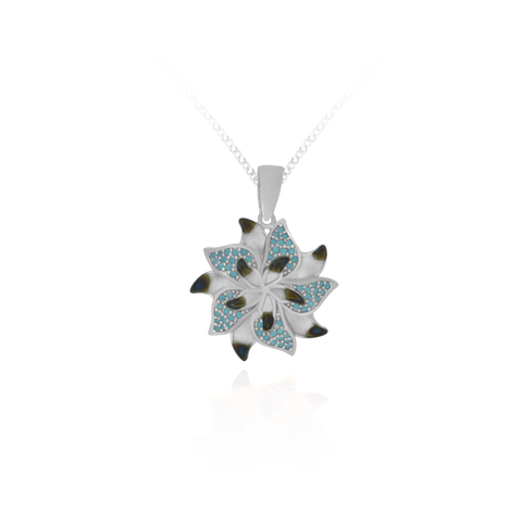 Ember Star Flower with Sparkling Blue Accents Pendant