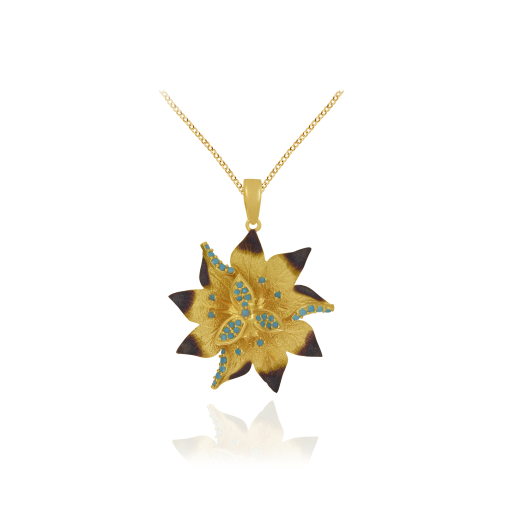 Ember Desert Flower with Sparkling Blue Accents Pendant