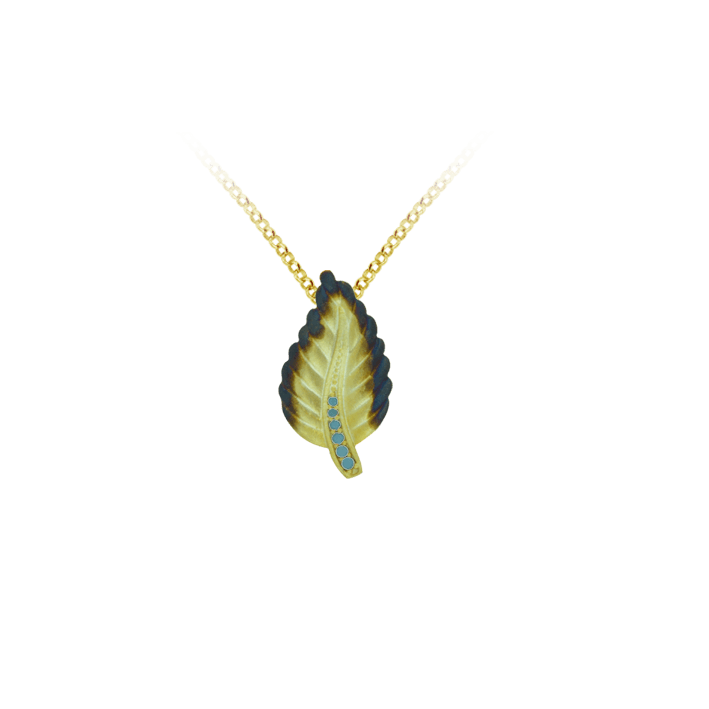 Ember Leaf with Sparkling Blue Accents on Stem Pendant
