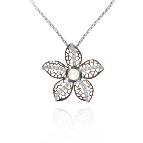 Ember Filigree Flower with Pearl Center and Sparkling Petals Pendant