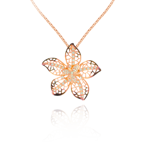 Ember Filigree Flower with Sparkling Petals Pendant